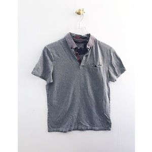 ted baker / gray men's polo short sleeve shirt